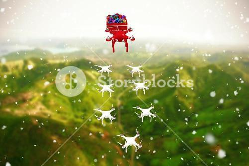Composite image of high angle view of mini drone pulling chirstmas sledge with gift