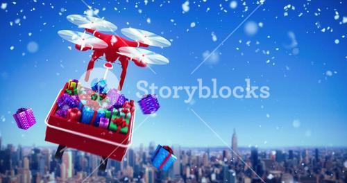 Composite image of digitally generated image of  flying drone pulling chirstmas sledge