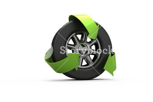 Wheel with green arrows
