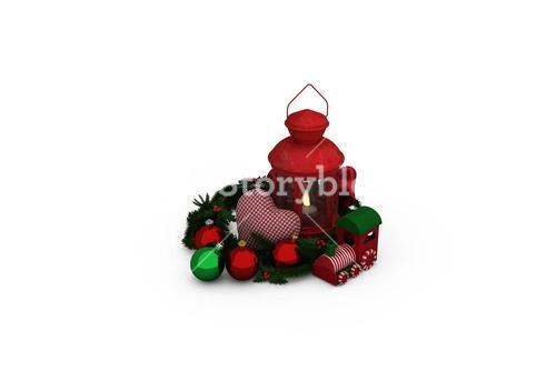 Digital image of lantern with Christmas accessories