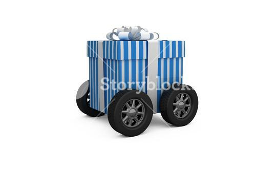 Digitally generated image of gift box with wheels