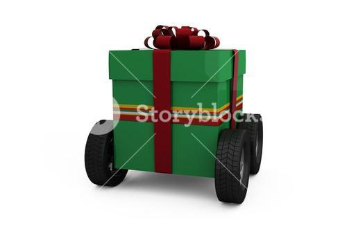 Green gift box with wheels