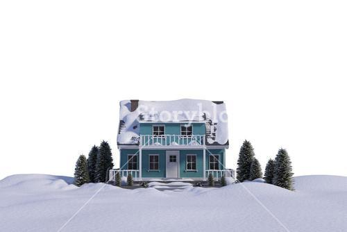 Three dimensional house snow covered