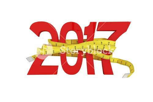 Digitally generated image of new year with tape measure