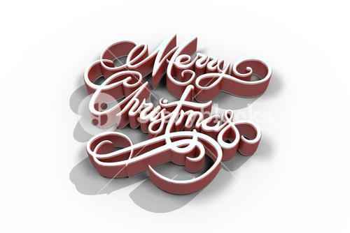 Merry Christmas text in red and white color
