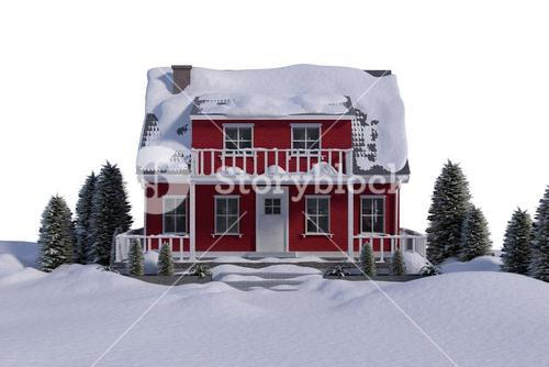 Red house with trees