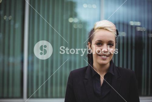 Close-up of smiling businesswoman