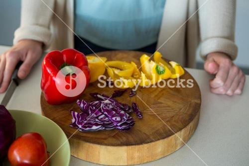 Close-up of chopped vegetables in kitchen