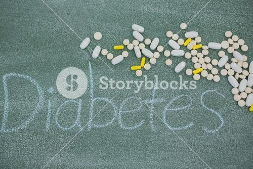 Medicine pills on diabetes text