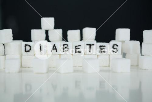 Sugar cubes spelling out diabetes