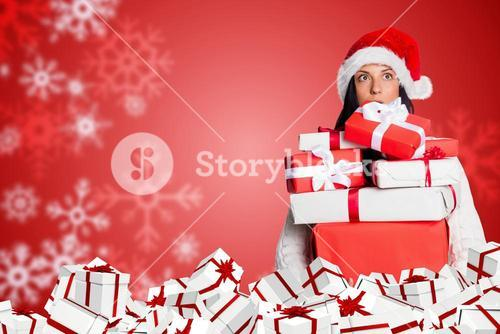 Woman hold Gift on Red and White Christmas Design