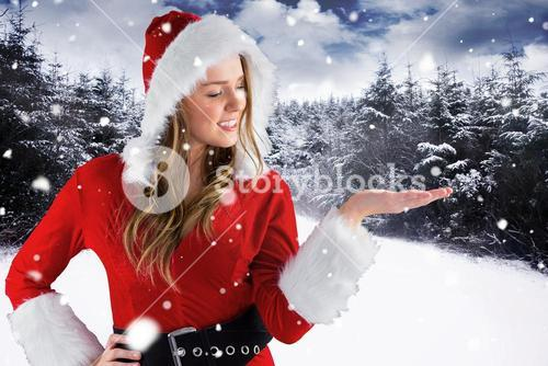 Christmas Woman in front of Snowy Forest Design