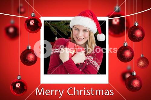 Happy Woman and Christmas Message on Red Background Designlying Santa Sleigh Design
