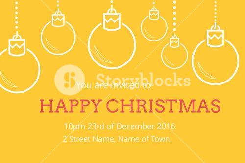 Christmas Invitation on yellow Background Design