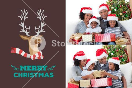 Happy Family and Christmas Message Design