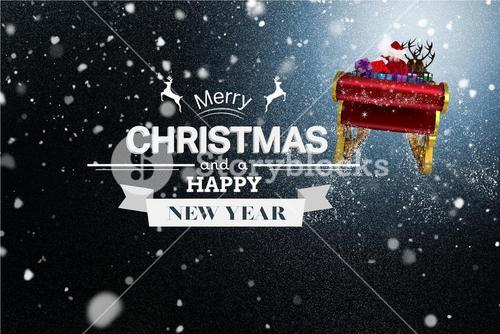 Flying Santa Sleigh and Christmas Message on Snowy Background Design