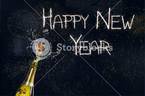New year Message and Champagne on Black Background