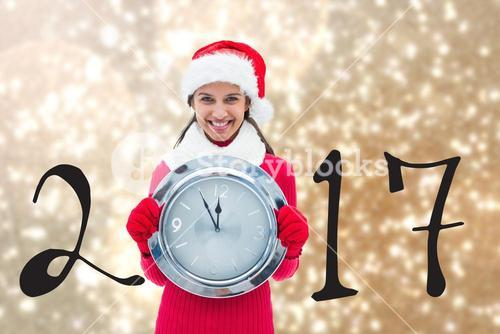 Happy Girl Holding Clock on Blurry Background Composite
