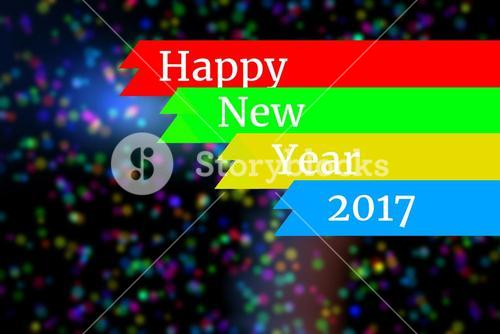 New Year Message on Blurry Background Design