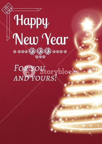 New Year Message on Light Christmas Tree Background Design