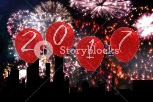 2017 Balloons on Firework Background Design