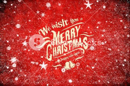 Christmas Message on Snowy Red Background Design