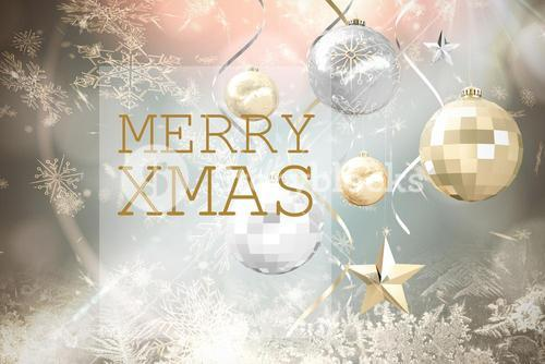 Christmas Message on Silver Background Design