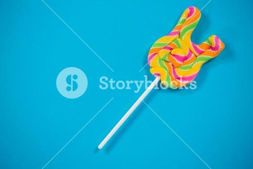 Lollypop on blue background