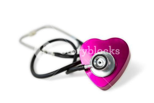 Heart being check with stethoscope