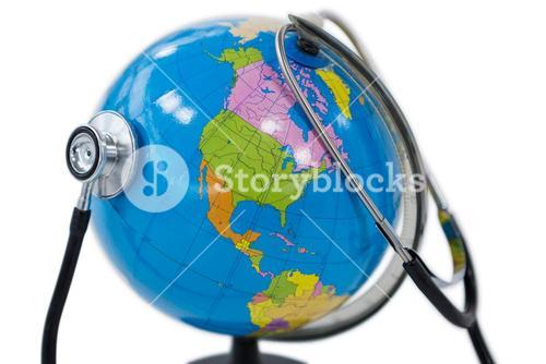 Globe being check with stethoscope on white background