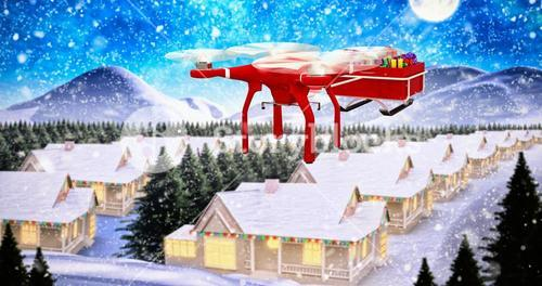 Composite image of flying drone pulling chirstmas sledge