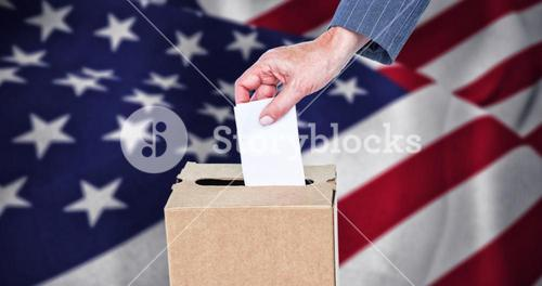 Composite image of close-up of businesswoman putting ballot in vote box