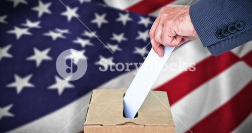 Composite image of businessman putting ballot in vote box