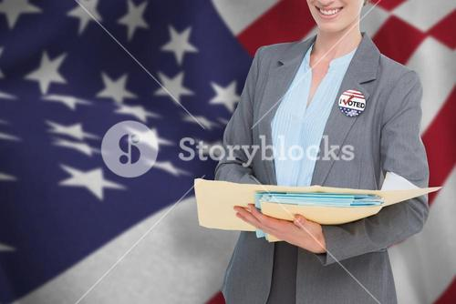 Composite image of portrait of beautiful doctor in suit with medical reports