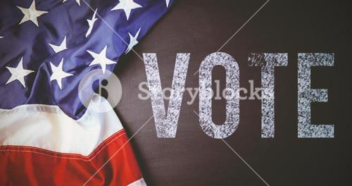 Composite image of vote text