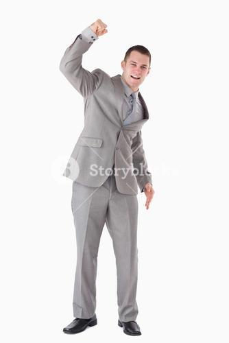 Portrait of a businessman cheering up