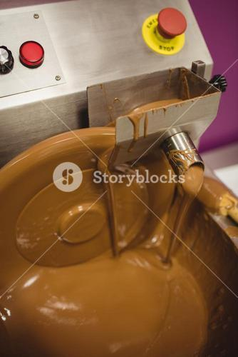 Close-up of chocolate blending machine