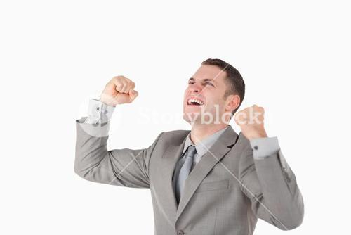 Businessman with his fists up