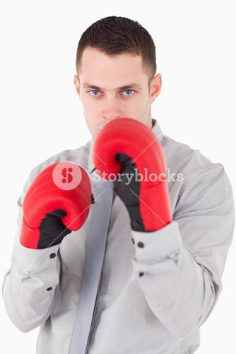 Portrait of a businessman ready to fight