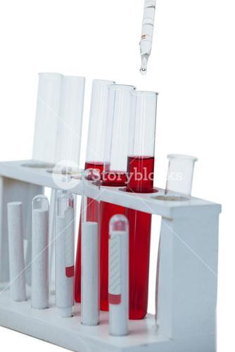Close-up of test tube rack with test tubes