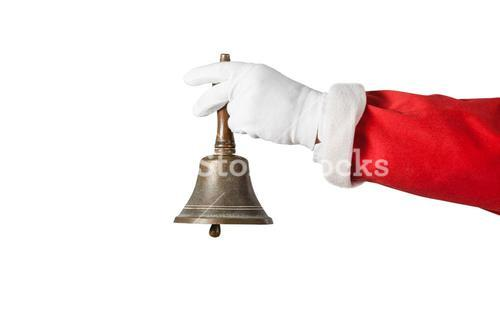 Santa claus holding a handle bell