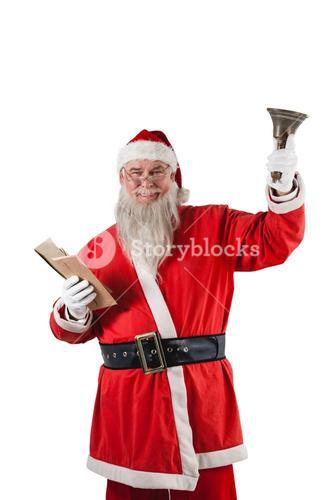 Santa claus holding bible and handle bell