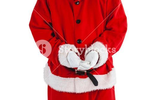 Santa claus with hands cupped
