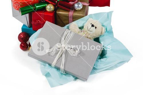 Christmas presents with soft toy and decoration