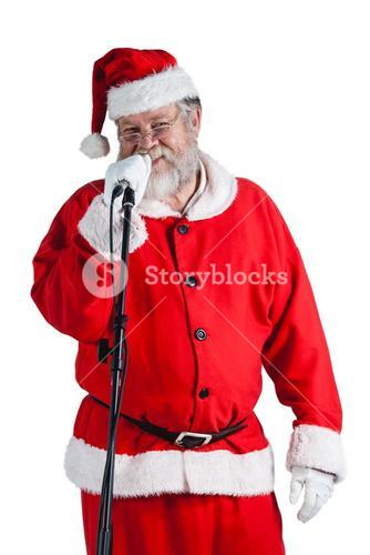 Santa claus singing a christmas songs