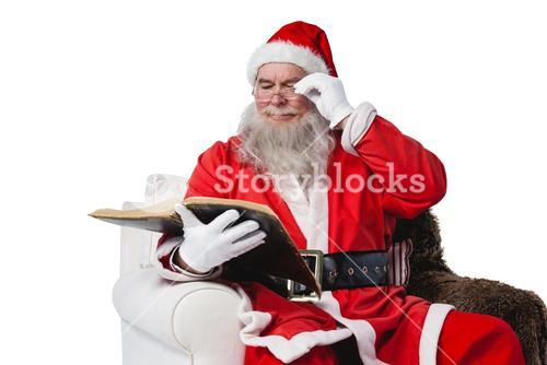 Santa claus reading bible