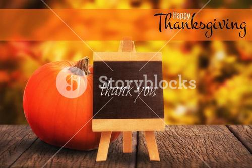 Composite image of illustration of happy thanksgiving day text greeting