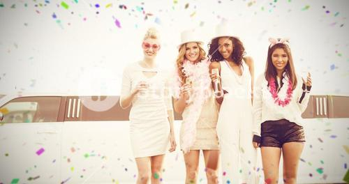 Composite image of portrait of female friends holding champagne flute