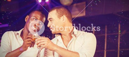 Composite image of happy friends toasting with beer and cocktails