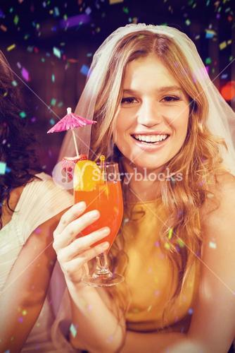 Composite image of pretty girl with cocktail